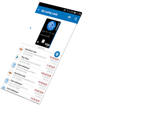 Access your card settings with LeoPay mobile app