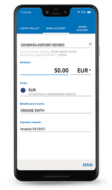 Transfer money with LeoPay mobile app
